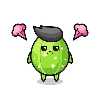 Annoyed expression of the cute cactus cartoon character , cute style design for t shirt, sticker, logo element
