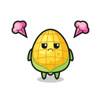 Annoyed expression of the cute corn cartoon character , cute style design for t shirt, sticker, logo element