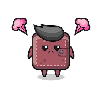 Annoyed expression of the cute leather wallet cartoon character , cute style design for t shirt, sticker, logo element