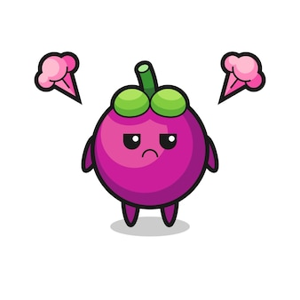 Annoyed expression of the cute mangosteen cartoon character , cute style design for t shirt, sticker, logo element
