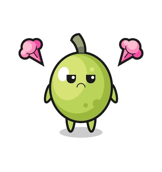 Annoyed expression of the cute olive cartoon character , cute style design for t shirt, sticker, logo element