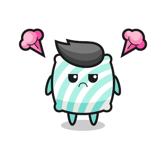 Annoyed expression of the cute pillow cartoon character , cute style design for t shirt, sticker, logo element