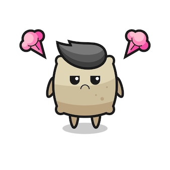 Annoyed expression of the cute sack cartoon character , cute style design for t shirt, sticker, logo element
