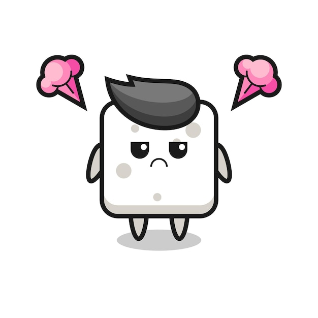 Annoyed expression of the cute sugar cube cartoon character , cute style design for t shirt, sticker, logo element