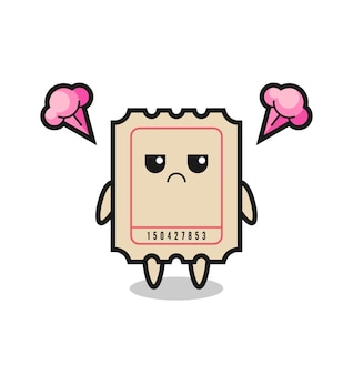 Annoyed expression of the cute ticket cartoon character , cute style design for t shirt, sticker, logo element