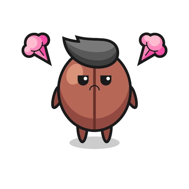 귀여운 커피 콩 만화 캐릭터의 짜증나는 표현, 티셔츠, 스티커, 로고 요소를 위한 귀여운 스타일 디자인