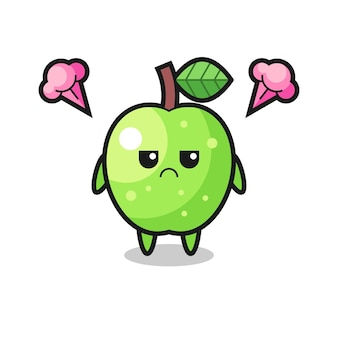 Раздраженное выражение милого мультипликационного персонажа зеленого яблока, милый стильный дизайн для футболки, наклейки, элемента логотипа