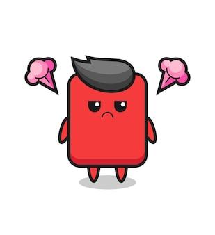 귀여운 레드 카드 만화 캐릭터의 짜증난 표정, 티셔츠, 스티커, 로고 요소를 위한 귀여운 스타일 디자인