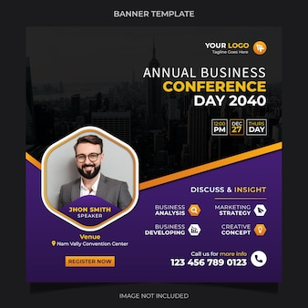 Annual business conference online live webinar and social media post template design vector premium