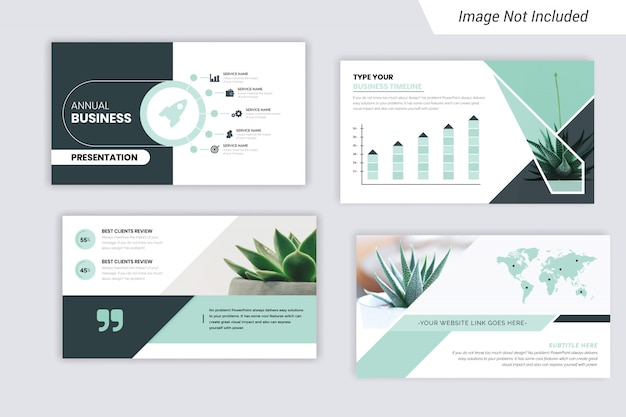 Annual business presentation design concept with infographic elements.