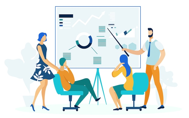 Annual business report flat vector illustration