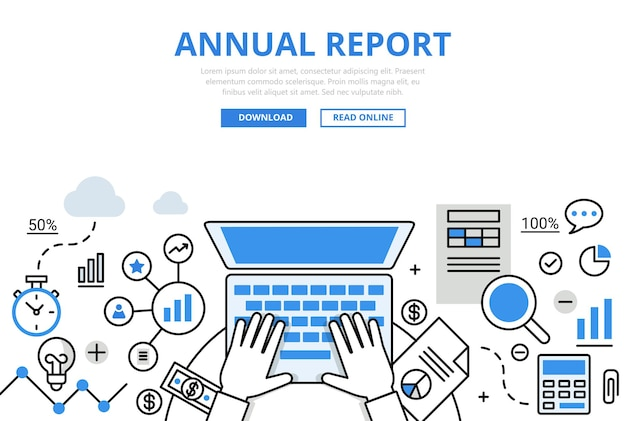 Annual financial report concept flat line style. hands working laptop calculator document chart graphic.