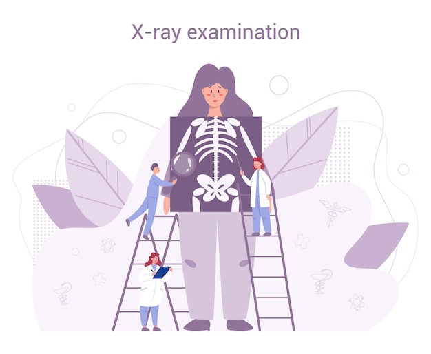 Annual and full health examination of human keleton . doctors examing female patient checking x-ray image. idea of health care and disease diagnosis.