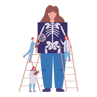 Annual and full health examination of human skeleton concept. doctors examing female patient checking x-ray image. idea of health care and disease diagnosis.