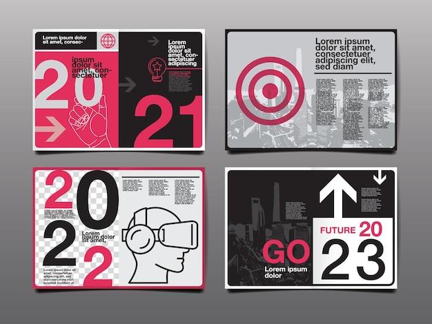 연례 보고서 2021,2022, 2023 미래, 비즈니스, 템플릿 레이아웃 디자인, 표지 책. 벡터 일러스트 레이 션, 프레 젠 테이 션 추상 평면 배경