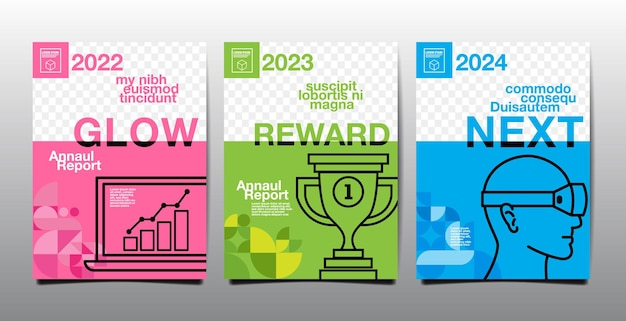 연례 보고서 2022, 2023, 2024, 미래, 비즈니스, 템플릿 레이아웃 디자인, 표지 책. 벡터 일러스트 레이 션