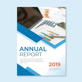 Annual report abstract template with photo