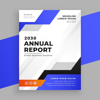 Annual report blue business brochure template design