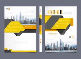 Годовой отчет дизайн брошюры с заголовком на сером фоне плоской изолированные векторные иллюстрации