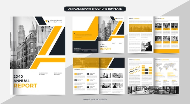 Annual report brochure template or corporate brochure and business brochure design