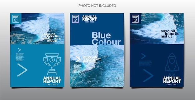 연례 보고서, 비즈니스, 템플릿 레이아웃 디자인, 표지. 벡터, 파란색
