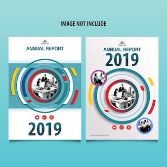 Annual report cover brochure with circle