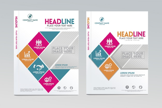 Annual report cover design template vector with dynamic and futuristic design.