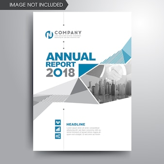 Annual report cover template blue gray geometric shapes