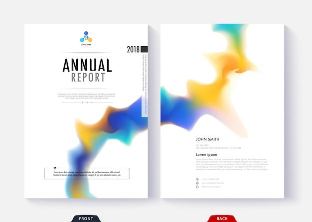 ビジネス文書ページと本のための年次報告書テンプレートコレクションデザイン。