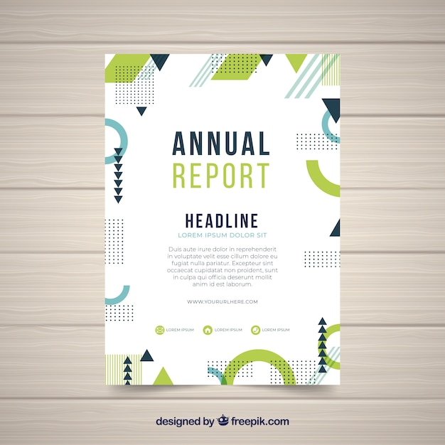 Annual report cover with abstract shapes