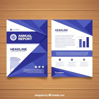 Annual report cover with blue geometric shapes