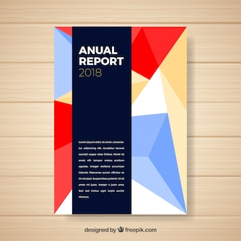 Annual report cover with geometric shapes