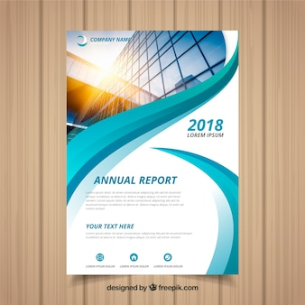 Annual report cover with image and wavy shapes