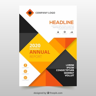 Annual report cover with orange geometric shapes