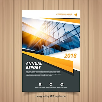 Annual report cover with photo