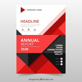 Annual report cover with red geometric shapes