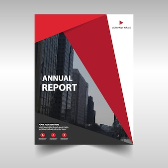 Annual report cover with red shapes