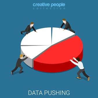 年次報告書データプッシュフラットアイソメトリック