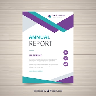 Annual report design in geometric style