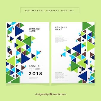Annual report design in geometric style