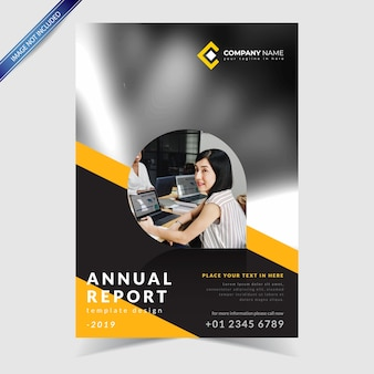 Annual report design, with abstract background