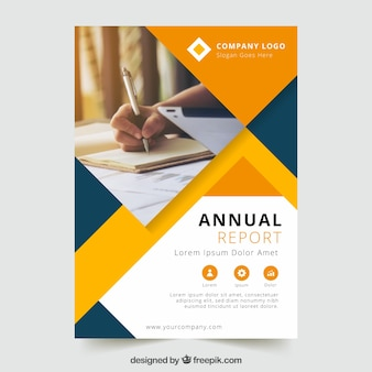 Annual report design with photo