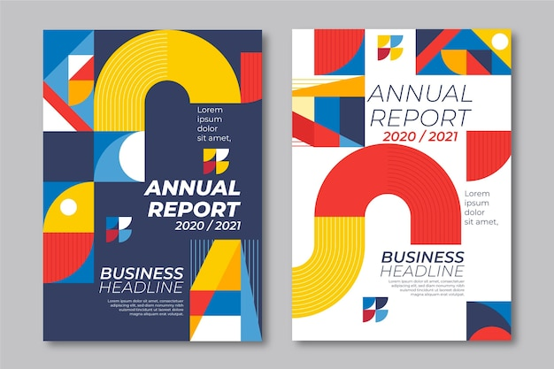 Annual report geometric shapes templates
