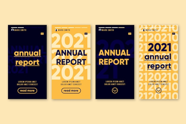 Relazione annuale storia di instagram Vettore gratuito