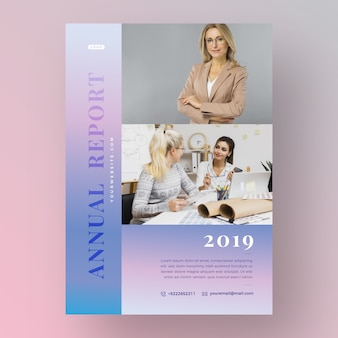 Annual report template concept with photo