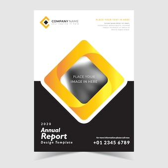 Annual report template design, with creative background