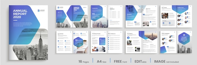 Annual report template design with modern blue gradient shapes