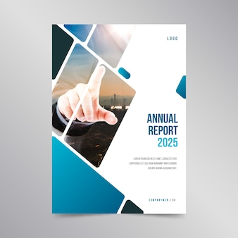 Annual report template design with photo
