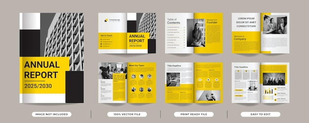 Annual report template design with yellow colour shapes multipage brochure design premium vector
