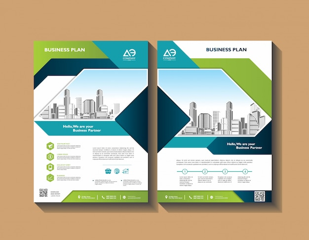 Annual report template geometric design business brochure cover